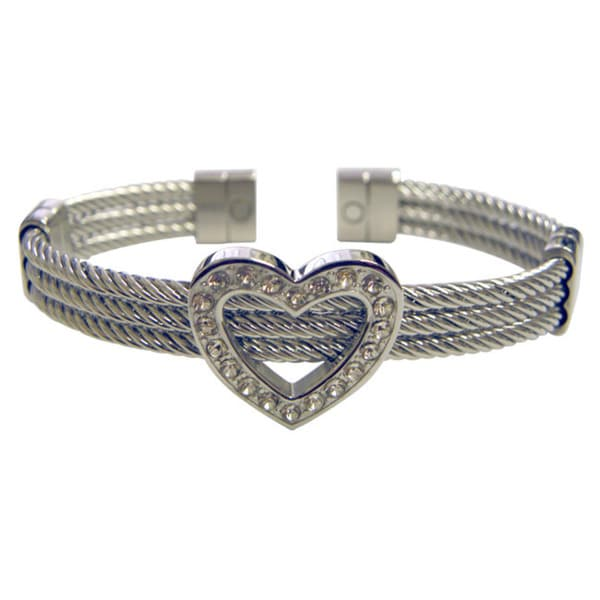 Magnetic Therapy Heart Bangle Cuff Bracelet