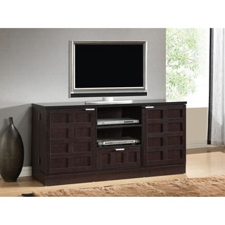 Tosato Shaker-Style Brown Wood TV Stand and Media Cabinet