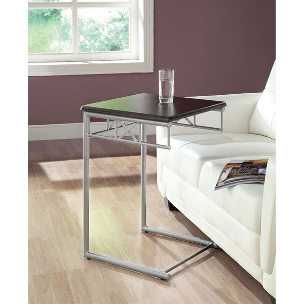 Shop Cappuccino Silver Metal Snack Table Free Shipping Today Overstock 6811207