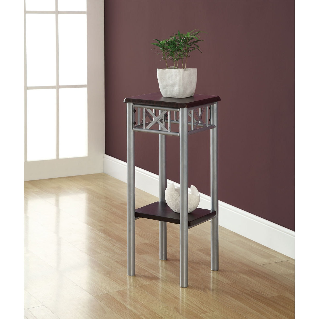 Cappuccino/ Silver Metal Plant Stand