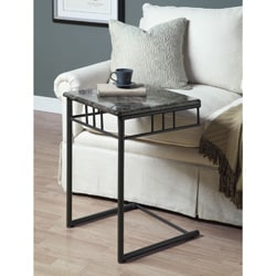 Grey Marble/ Charcoal Metal Snack Table
