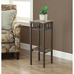 Cappuccino Marble/ Bronze Metal Plant Stand