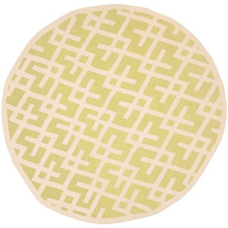 Safavieh Transitional Moroccan Light Green/Ivory Reversible Dhurrie Wool Rug (6' Round)