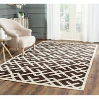 Safavieh Hand-woven Moroccan Reversible Dhurrie Chocolate/ Ivory Wool Area Rug - 9' x 12'