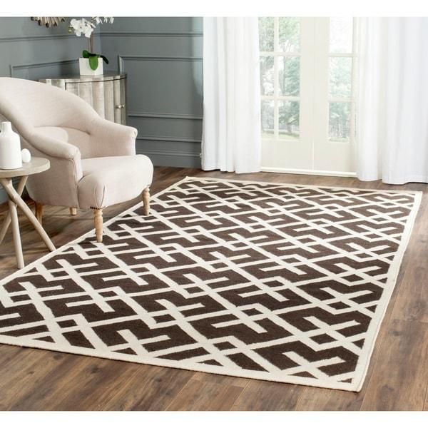 Safavieh Hand-woven Dhurrie Flatweave Brown/ Ivory Wool Rug - 9' x 12'