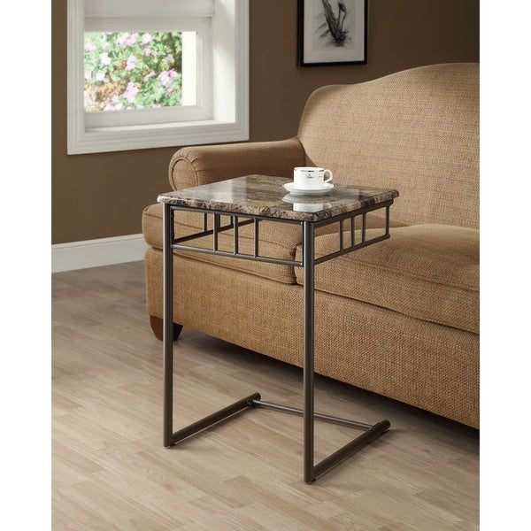 Cappuccino Marble Bronze Metal Snack Table Free