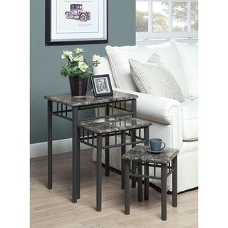 Grey Marble/ Charcoal Metal 3-piece Nesting Table Set