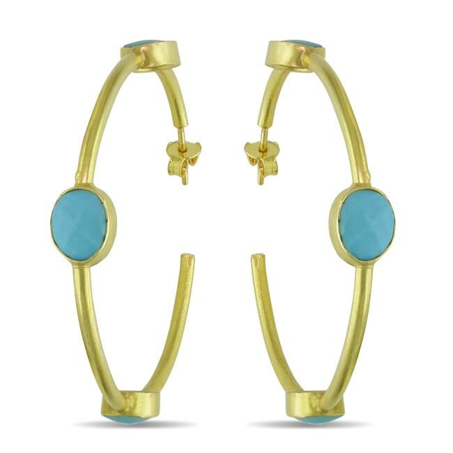 Miadora 22k Goldplated Silver 10ct TGW Turquoise Hoop Earrings