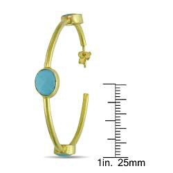 Miadora 22k Goldplated Silver 10ct TGW Turquoise Hoop Earrings - Thumbnail 2