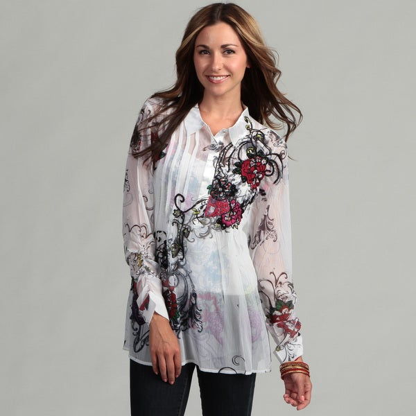 Spy Women's Long Sleeve Floral Sheer Blouse