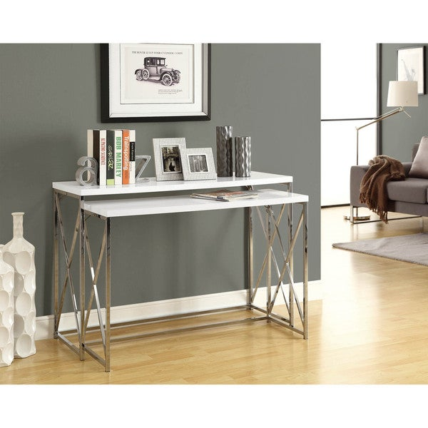 Clay Alder Home Pacific Glossy White/ Chrome Metal 2-piece Console ...