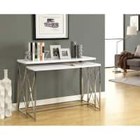 Clay Alder Home Pacific Glossy White/ Chrome Metal 2-piece Console Table Set