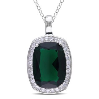 M by Miadora Sterling Silver Green Glass and Cubic Zirconia Fashion 18-inch Necklace