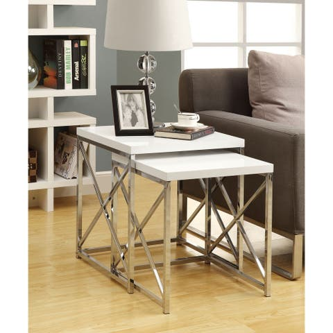 Silver Orchid Andriot Glossy White/ Chrome Metal 2-piece Nesting Table Set