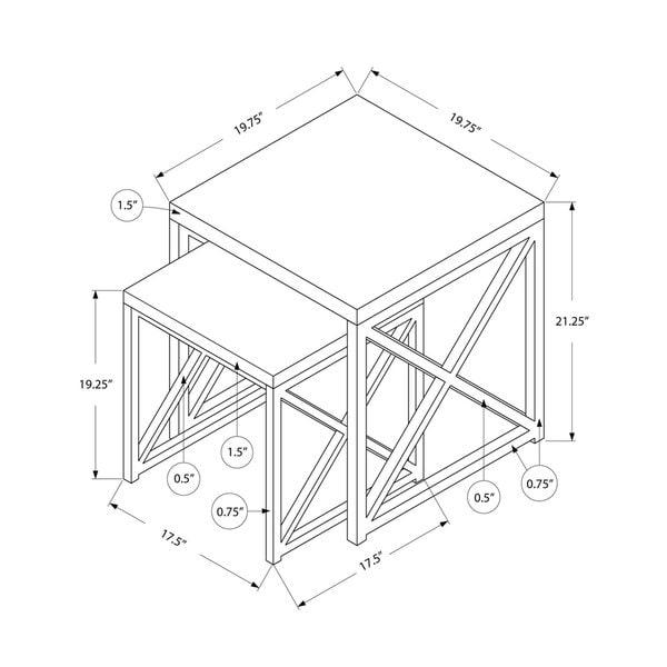 Glossy White/ Chrome Metal 2-piece Nesting Table Set
