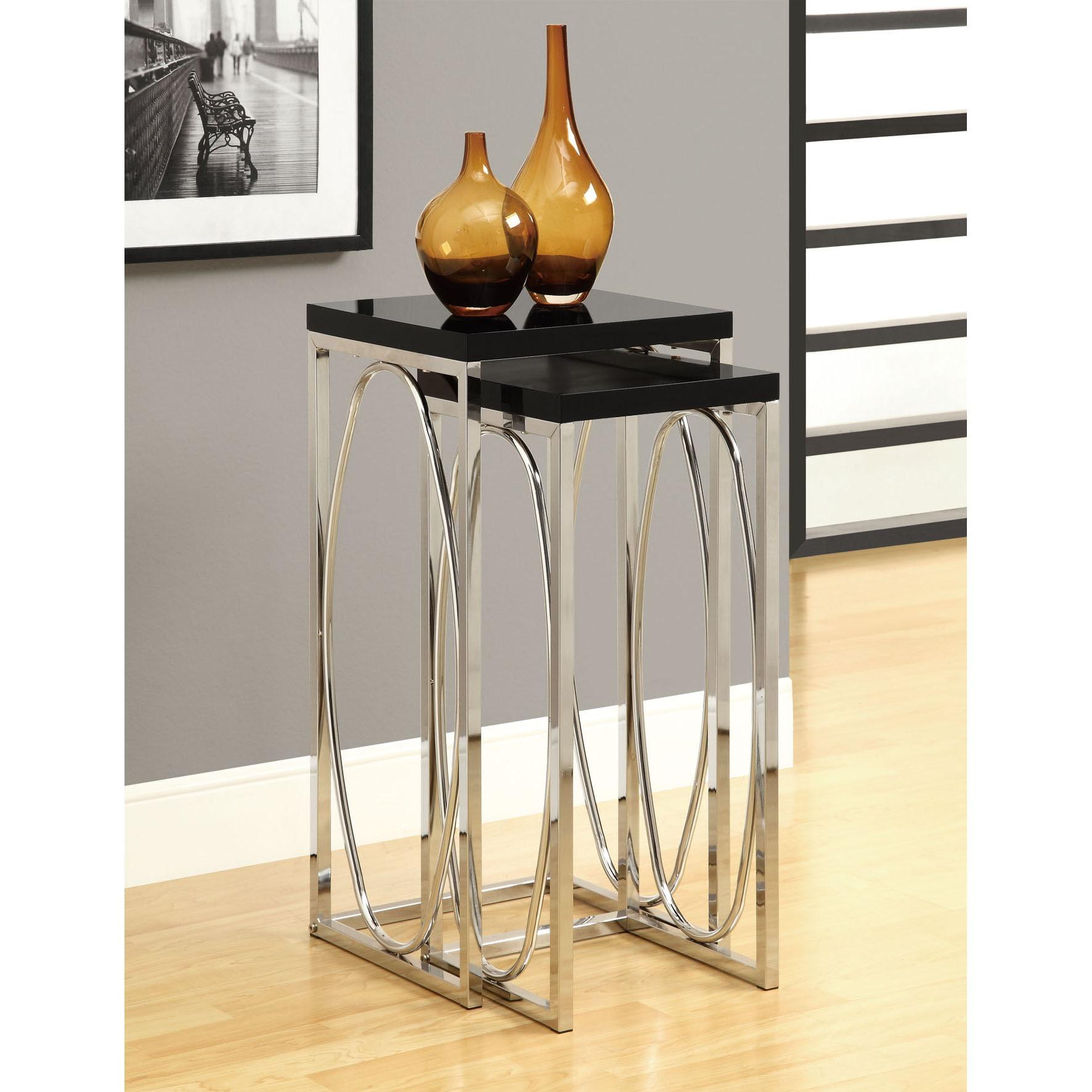 Glossy Black/ Chrome Metal 2-piece Plant Stand Set