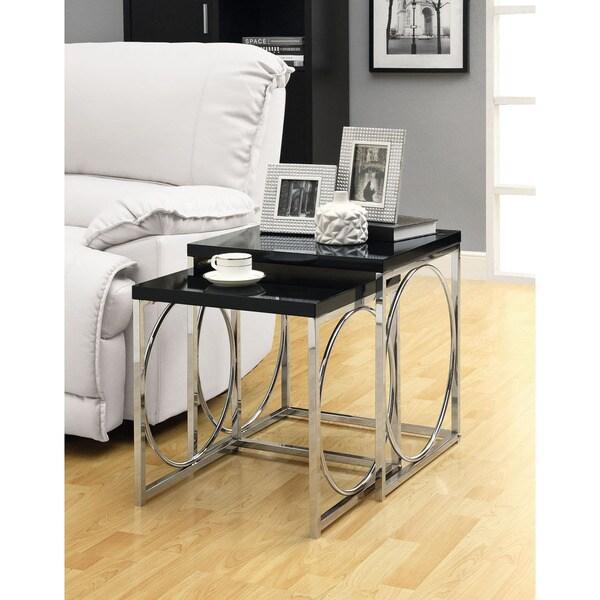 Glossy Black/ Chrome Metal 2-piece Nesting Table Set