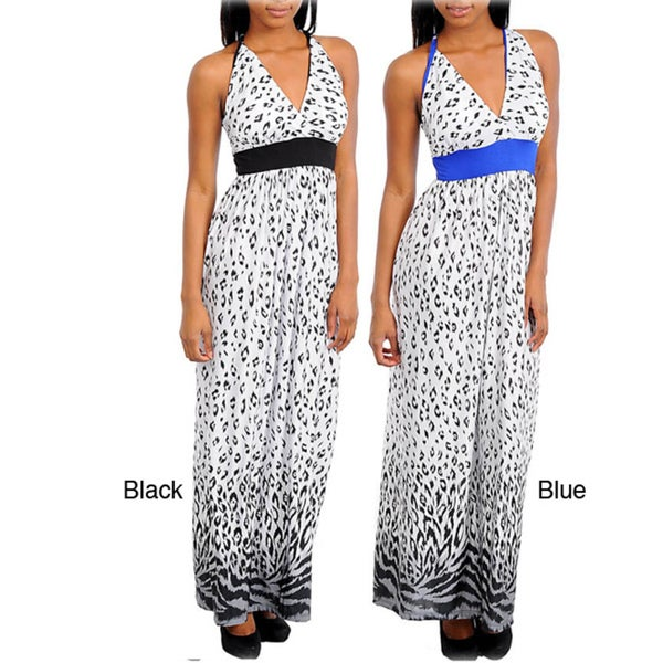 Stanzino Women's Animal Print Empire Waist Maxi Dress