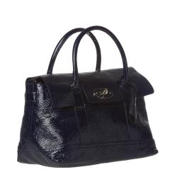 Mulberry 'Holiday' Small Navy Patent Leather Satchel - Thumbnail 1