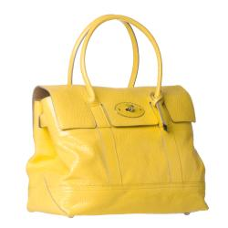 Mulberry 'Holiday Bayswater' Lemon Patent Leather Satchel - Thumbnail 1