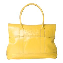 Mulberry 'Holiday Bayswater' Lemon Patent Leather Satchel - Thumbnail 2
