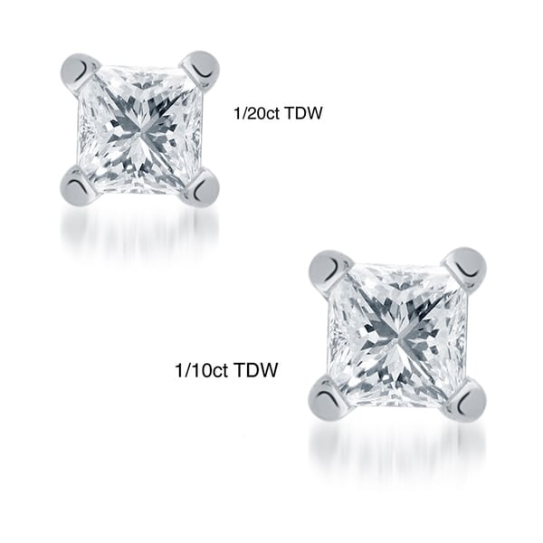 Montebello 10KT White Gold Tiny Princess Cut Single Diamond Men's Earring