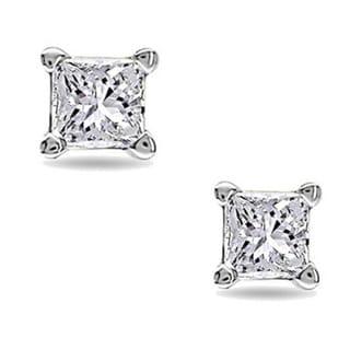 Montebello 10k White Gold Tiny Princess Cut Single Diamond Earring