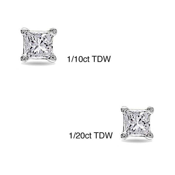 Montebello 10k White Gold Tiny Princess Cut Single Diamond Earring (I-J, I1-I2)