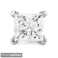 Montebello 14k White Gold Princess Single Diamond Stud Earring (H-I, I2-I3)