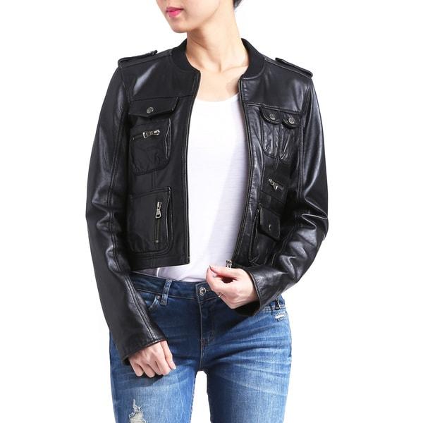 Women's Lambskin Leather Bomber Jacket