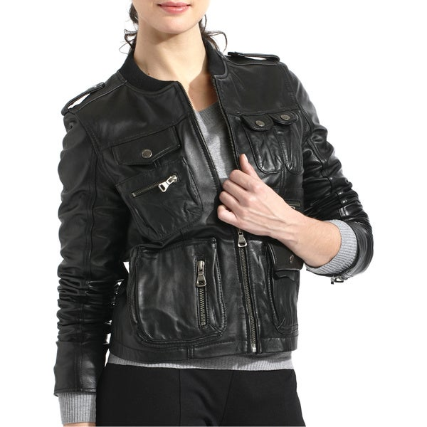 Women's Lambskin Leather Bomber Jacket - Free Shipping Today ...