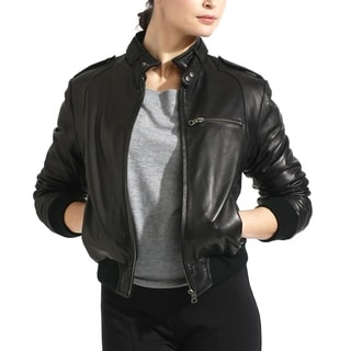 Women's Black Lambskin Leather Bomber Jacket
