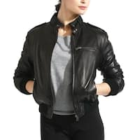 Women's Black Lambskin Leather Moto Bomber Jacket