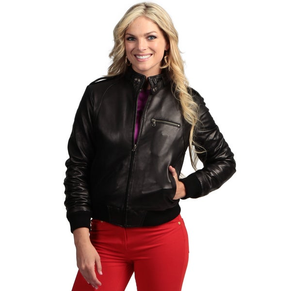 Women's Black Lambskin Leather Moto Bomber Jacket - Free Shipping ...
