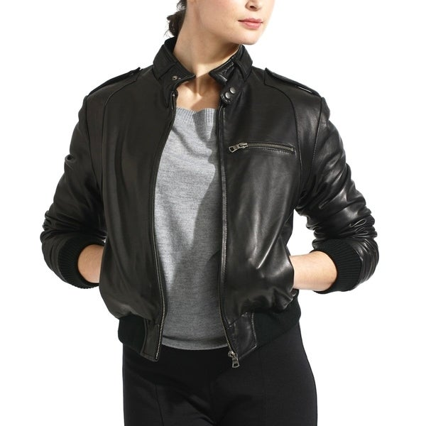 Women's Black Lambskin Leather Moto Bomber Jacket