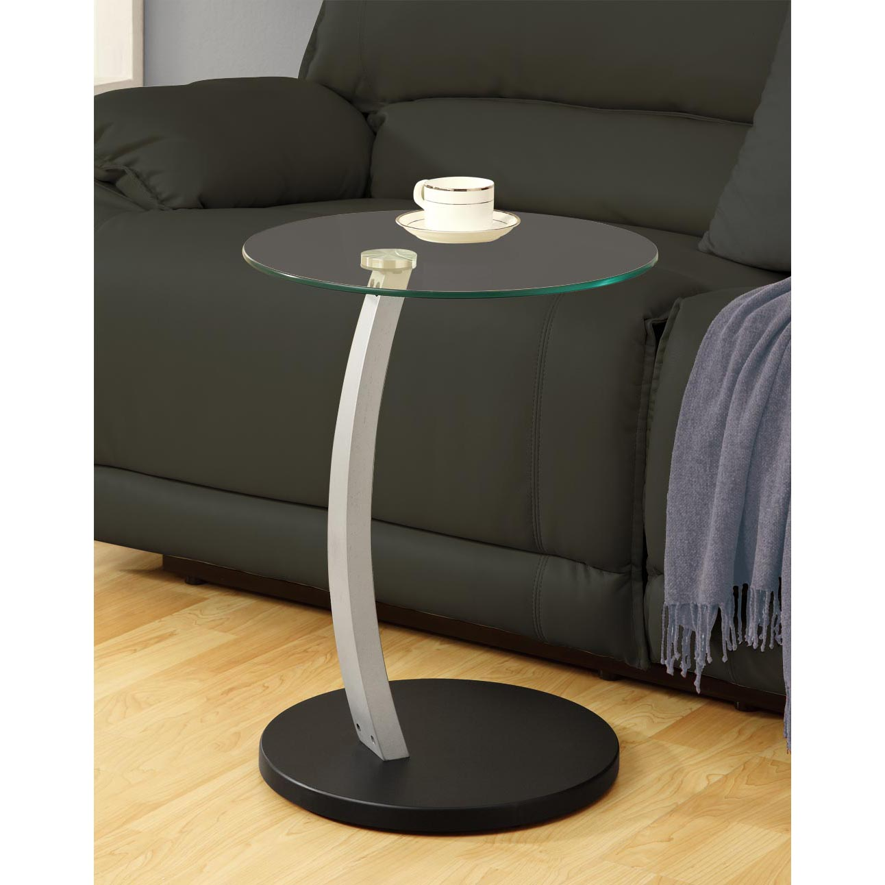 Black/ Silver Bentwood Accent Table with Tempered Glass