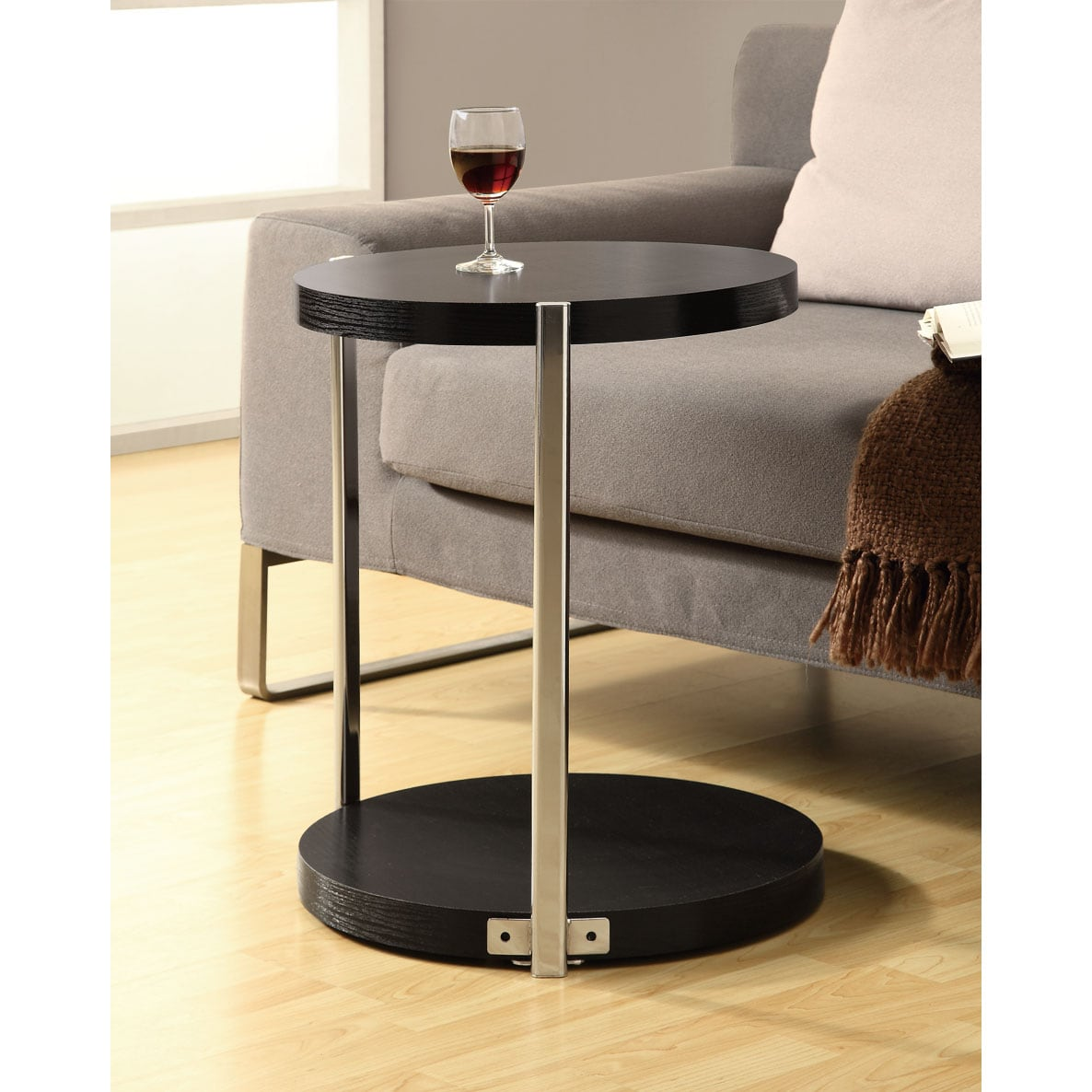 Cappuccino/ Chrome Metal Accent Table