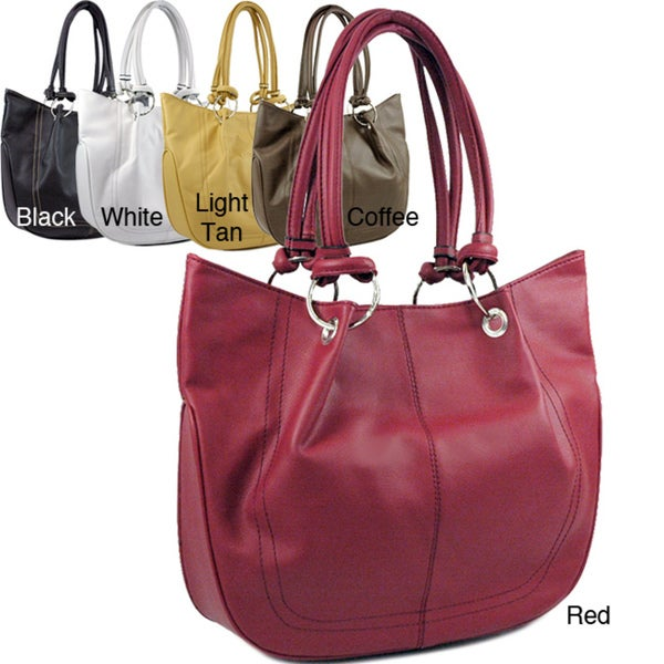 Dasein Faux-leather Double-handle Hoop Tote Bag (12' x 12' x 4')