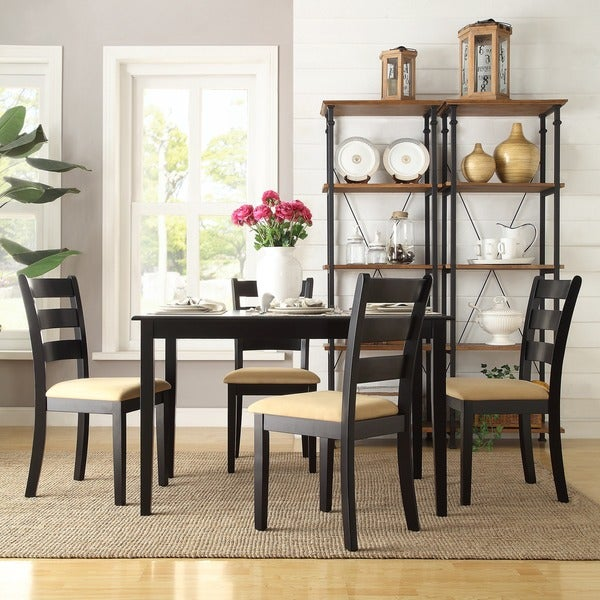 TRIBECCA HOME Wilmington Black Ladder Back Cushioned 5-piece Dining Set