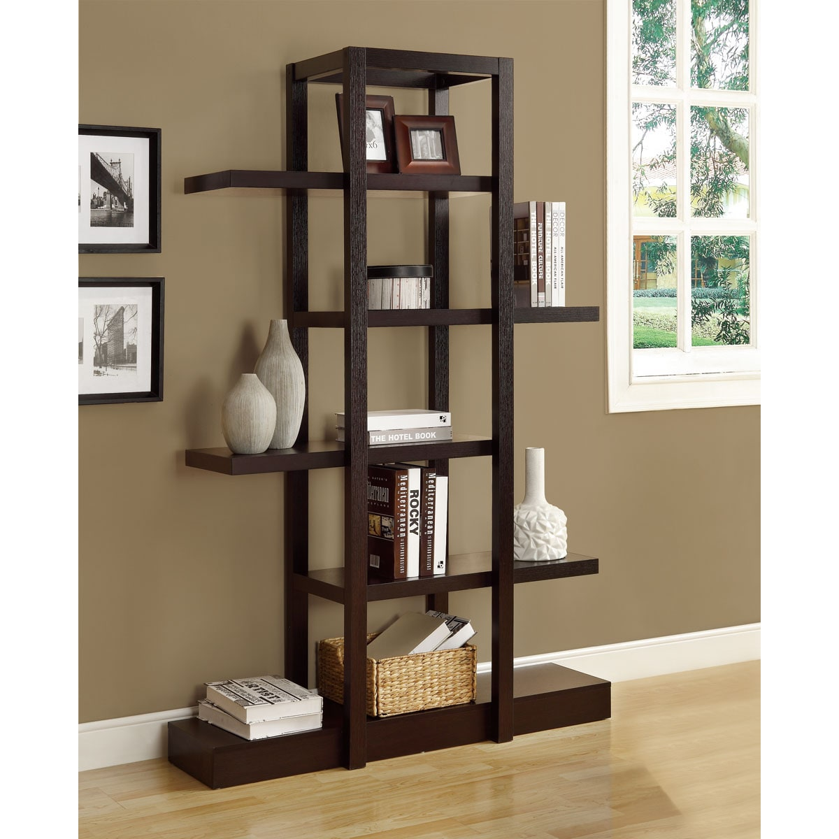 Cappuccino 71 inch Open Display Shelf Free Shipping