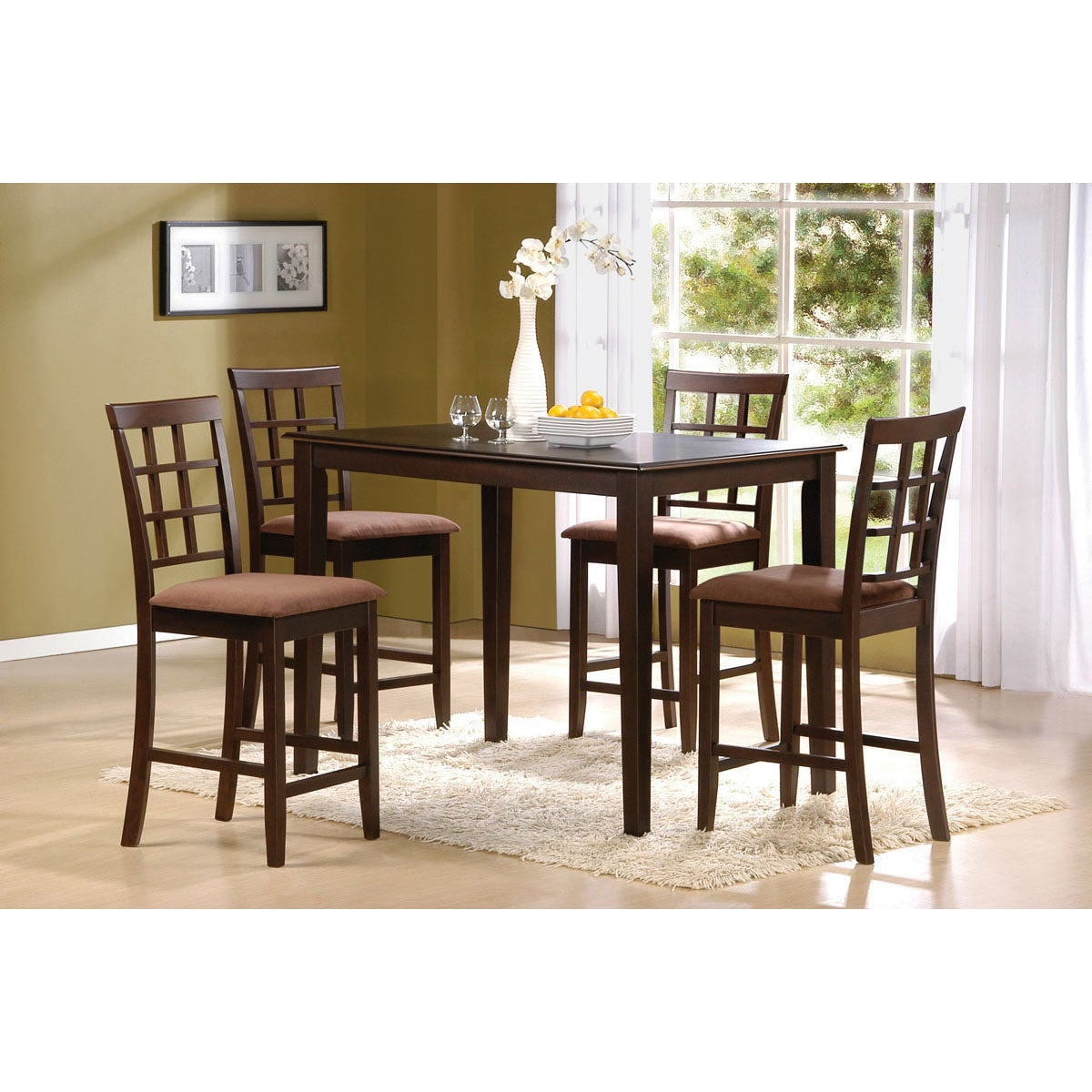 Cardiff 5 piece espresso finish pack counter height dining for Tall dinner table set