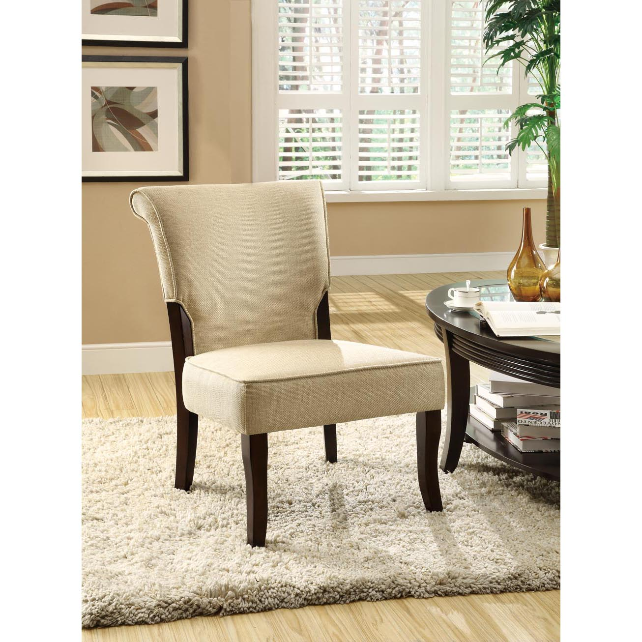 Beige/ Cappuccino Linen Fabric Accent Chair