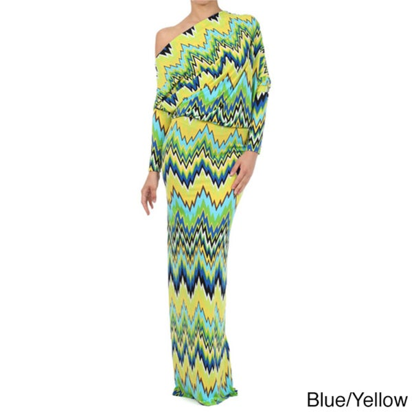 Tabeez Women's Off Shoulder Striped Jersey Maxi Dress
