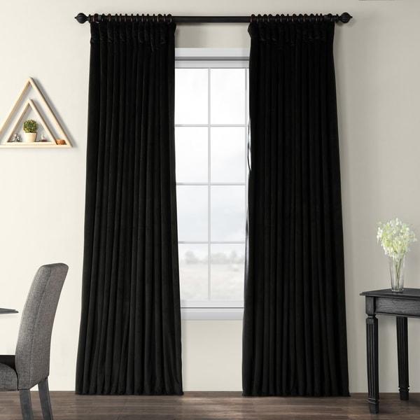 Exclusive Fabrics Warm Black Velvet Blackout Extra Wide Single Curtain Panel