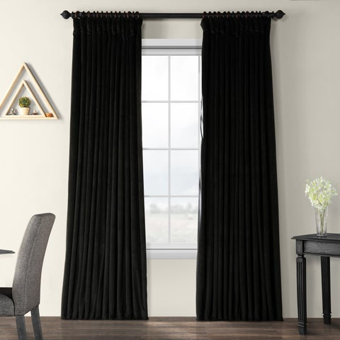 Exclusive Fabrics Warm Black Velvet Blackout Extra Wide Single Curtain Panel