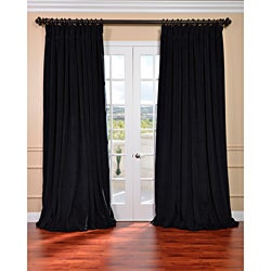 Exclusive Fabrics Warm Black Velvet Blackout Extra Wide Curtain Panel