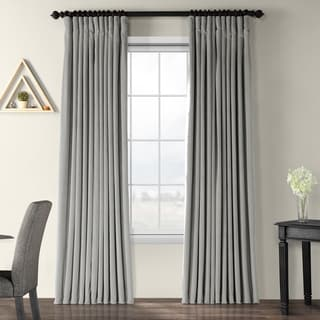 Exclusive Fabrics Silver Grey Velvet Blackout Extra Wide Curtain Panel