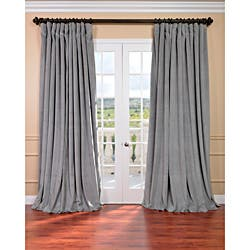 blackout bedroom curtains. Exclusive Fabrics Silver Grey Velvet Blackout Extra Wide Curtain Panel Curtains  Drapes For Less Overstock com