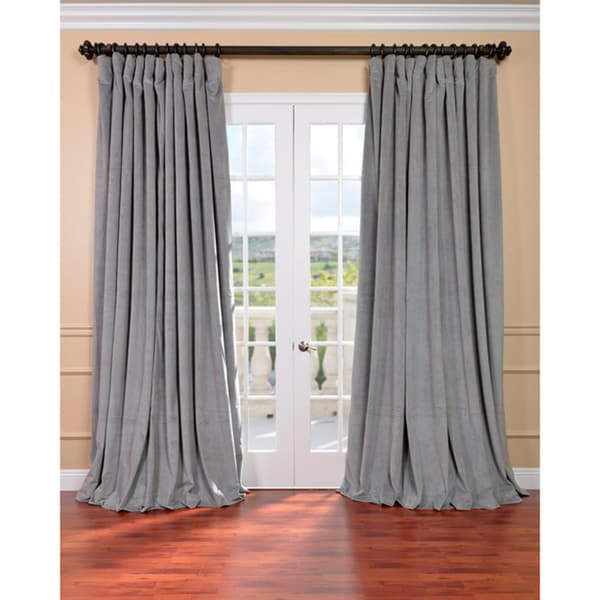 Exclusive Fabrics Silver Grey Velvet Light Blocking Extra Wide Curtain Panel
