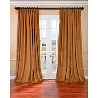 Exclusive Fabrics Amber Gold Velvet Blackout Extra Wide Single Curtain Panel